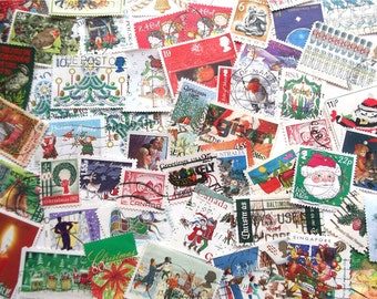 Christmas postage stamps | Nativity, Santa, Snowmen, Robins, Christmas Trees, Red, Green | modern + vintage used stamps Christmas card craft