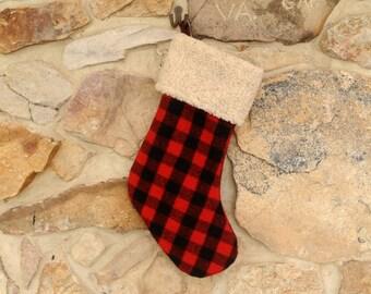 Buffalo Plaid Wool Christmas Stocking Personalized