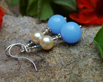 Serenely Blue Earrings - Vintage Lucite Beads, Ivory Glass Pearls, Blue Prism Crystals, Silver Accents & Argentium Silver Ear Wires