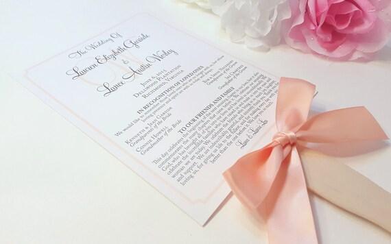Peach Program Fans Wedding Programs
