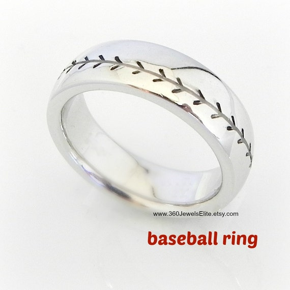 baseball design ring with comfort fit feature domed rounded