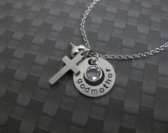 For Godmother-Gift woman-First Communion, Godmother gift - Personalized Godmother necklace Baptism gifts for godparents-Christening Gifts