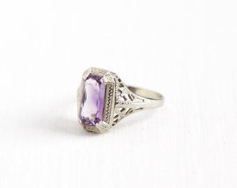 Vintage 14k White Gold Art Deco Amethyst Ostby & Barton Ring - Size 6 1/4 Filigree 1920s Rectangular Cut Purple Gemstone Fine OB Jewelry