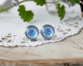 Blue White Gzhel  Stud Earrings, Silver Plated, Glass Cabochon, Russian Folk Art
