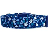 Blue Floral Dog Collar /  Blue Dog Collar / Navy dog collar / Floral dog collar / Flower Dog Collar / Adjustable Dog Collar