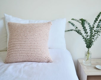 Chunky Knit Cushion | Hand Knit Wool Cushion Pillow Cover | BLUSH PINK | 45cm/18""