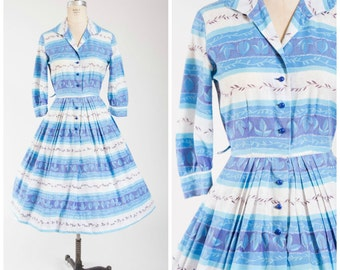 Vintage 50s Dress • Breezy Destination • Blue Striped Floral Print Cotton 1950s Day Dress Size Medium