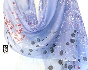 Hand Painted Silk Shawl, Gift for her, Japanese Kimono Scarf, Blue Hydrangea Evening, Silk Chiffon Scarf, Silk Scarves Takuyo, 22x90 inches.