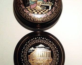 Black Grecian Trinket Bowls - Hand Made in Greece - Porcelain Ceramic with 24K Gold - Greek Souvenir 1960s