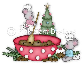 Digi Stamp Christmas Pudding Mice  - Mouse, Mice, Makes cute Christmas Cards