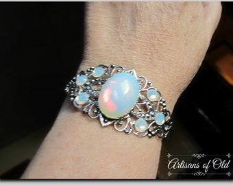 Opalite Bracelet Cuff, Swarovski Opal Rhinestone Cuff, Wedding Bracelet