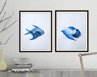 SET OF 2  original paintings. Watercolor on paper. modern art. Fish art, fish painting. Minimalist. Fish in watercolor.