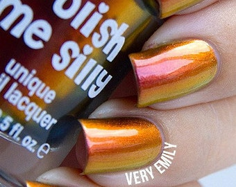 NEW-Dynamite-Mega Multichrome Multi-Color Shifting Polish:  Custom-Blended Glitter Nail Polish / Indie Lacquer / Polish Me Silly