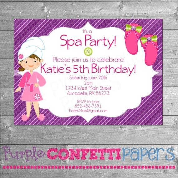 Spa Party Invitation, Spa Birthday Party, Printable Invitation, 5x7 ...