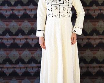 1970s vintage bohemian hippie embroidered goddess maxi wedding dress // small medium