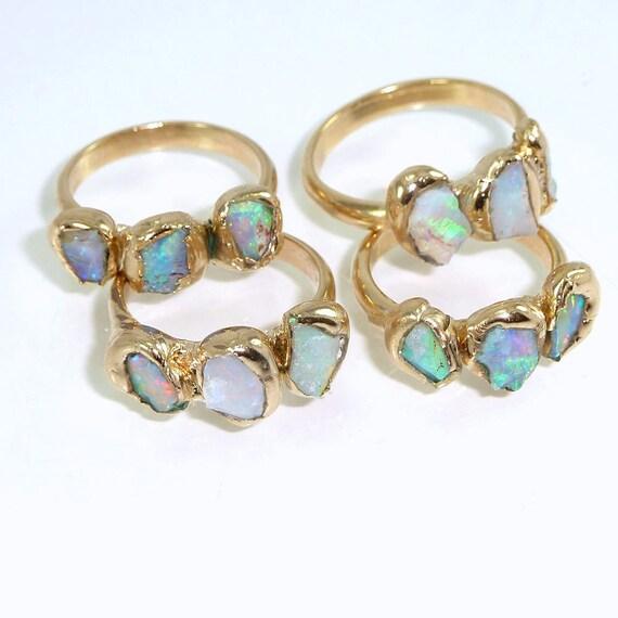 opal engagement ring raw crystal alternative engagement. Black Bedroom Furniture Sets. Home Design Ideas