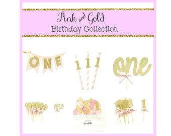 Pink & Gold Birthday Party Decoration Kit  - 1st Birthday, Birthday party kit, girl's birthday kit, pink party kit, one party decorations