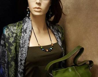 Sale! FOSSIL - 75082 - Olive Green - Silvertone - Genuine Leather - Handbag Purse
