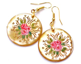 Painted Pink Rose Shell Earrings Romantic Flower Jewelry FREE SHIPPING