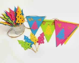 Choice Happy Christmas Banner or 12 Mod Tree Cupcake Toppers, Retro Style Die Cut Paper Bunting & Buffet Food Picks, Holiday Party Decor