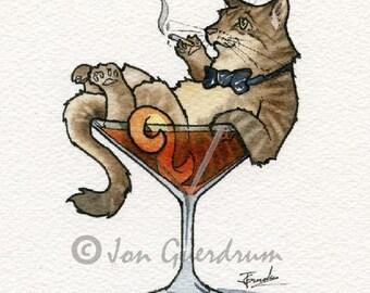Tom Cat Manhattan, Drinking Buddy, Art Print