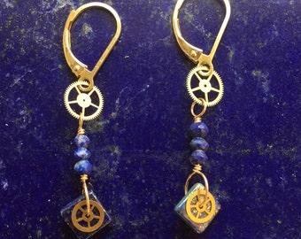 Steampunk Lapis Earrings Watch Gears & Lapis Lazuli Gold Filled Lever Back Findings