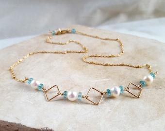 Dainty Gemstone Station Necklace Modern Geometric Pearl Apatite 14K GF Delicate Satellite Beaded Chain Necklace Fine Jewelry Life Bijou