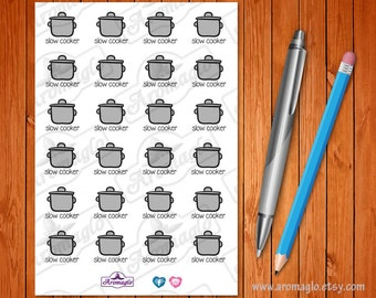 Slow Cooker Stickers for Food Planning. Food Diary, Meal Log, Diet Planner. 24 Icons. Suits Filofax, Kikki K, Filofax, Happy Planner, eclp.