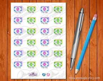 Pay Day Stickers. 24 Multi-Coloured Bank Note Icons. Use in Filofax, Erin Condren, Kikki K, Happy Planner, Bullet Journals, Hobonichi, TN.