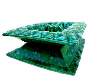 Mid-Century Turquoise & Green California Pottery Art Ashtray || Diamond Cushion Pattern Design