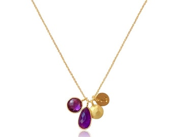 Purple Aventurine Gemstone and Amethyst Gold Necklace,Valentines Gifts for her,Gold Pendant Mom Necklace, Gold and Purple Gemstone Jewelry,