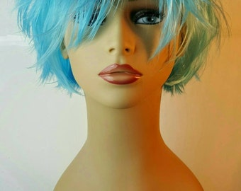 Short Choppy Layered Light Blue  Wig, Short Blue Wig, Layered Blue Bob, Spiky Layered Blue Wig, Halloween, Costume, Drag