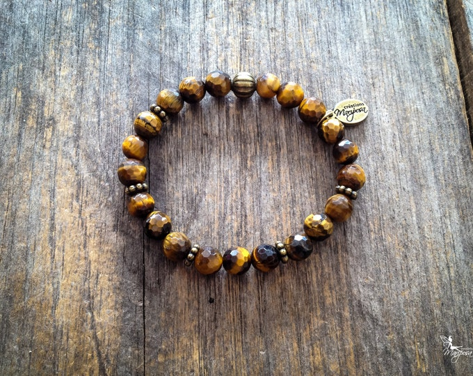 Tiger eye yoga intention bracelet Chakra Protection, Flexibility, Autonomy Mala inspired jewelry by Creations Mariposa BI-OT