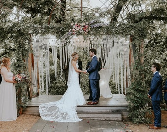 Large Macrame Wedding Backdrop for Decor at Indoor or Outdoor Ceremonies.  Garland Customizable by Width.