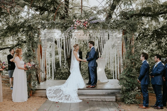 5 vintage wedding arches for your perfect summer wedding large macrame wedding backdrop for decor at indoor or outdoor ceremonies garland customizable by width junglespirit Images