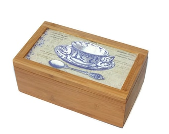 Tea box, Bamboo tea box, Tea Storage Box,rustic tea box