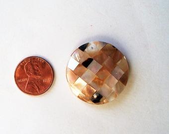 Shell Pendant, Black Lip shell focal, Gold Lip Shell focal, Black lip and gold lip focal, 30mm round, top drilled, assembled focal