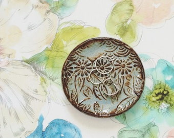Blue pottery ring dish ring holder ring bowl with flowers and leaves - blue and brown ceramic dish spoon rest little bowl jewelry holder