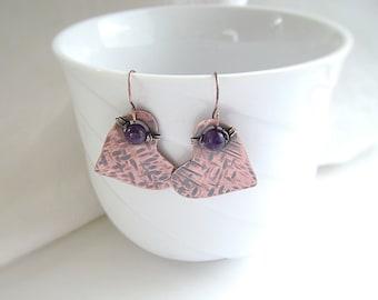 Amethyst Earrings, Wire Wrapped, Copper Earrings, Heart Earrings, Valentines Gift, Gemstone Earrings, Birthstone Jewelry, Hammered Copper