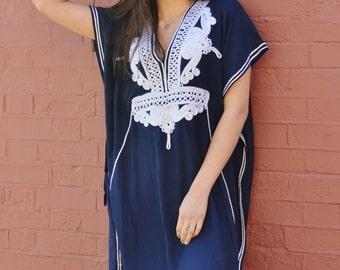 CIJ Sale Navy Blue with Silver Boho Marrakech Resort Caftan Kaftan -beach wear, resortwear,loungewear,birthdays, honeymoon, maternity gifts
