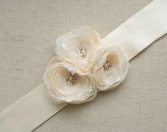 SALE Bridal Flower Sash Wedding Dress Sash Ribbon Sash Belt Floral Bridal Sash Wedding Accessory Ivory Nude Champagne Pearls Lace Crystals