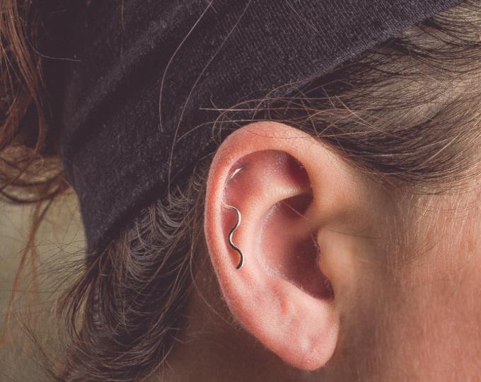 Silver Wave Cartilage Earring Ear Climber
