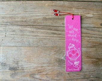 Alice in wonderland: Teapot, fuchsia bookmark, with handwritten calligraphy