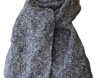 Hand Knit Scarf - Charcoal Grey Tweed Farmhouse Silk Cotton Basketweave