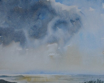 Original watercolour seascape painting Cornwall, Cornwall seascape, sunset painting, dramatic clouds, storm clouds, cornwall coast, Newquay