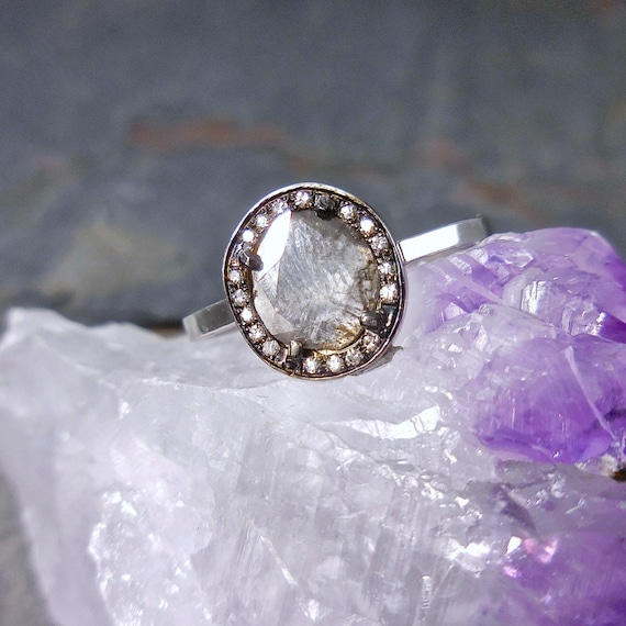 Rustic Diamond: RESERVED For Cory Rustic Diamond Slice Ring Natural Modern