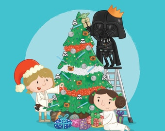 Star Wars Christmas Cards - Darth Vader - Princess Leia - Luke Skywalker- Christmas Tree - Decoration - Funny - Festive - Sci-fi - Geeky