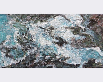 Small abstract ocean painting, original art on canvas, blue painting, ocean waves, beach home decor, free shipping