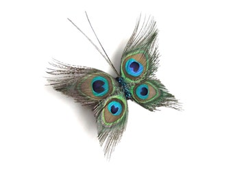 Butterfly Peacock Wedding Hair Clip Accessory, Peacock Feather Fascinator Hair Piece, Peacock Feather Hair Accessories, Butterfly Hair Clip