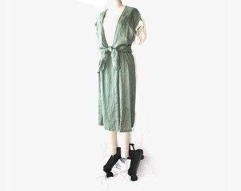 1970's G Gucci Spa Linen Front Tie Midi Dress